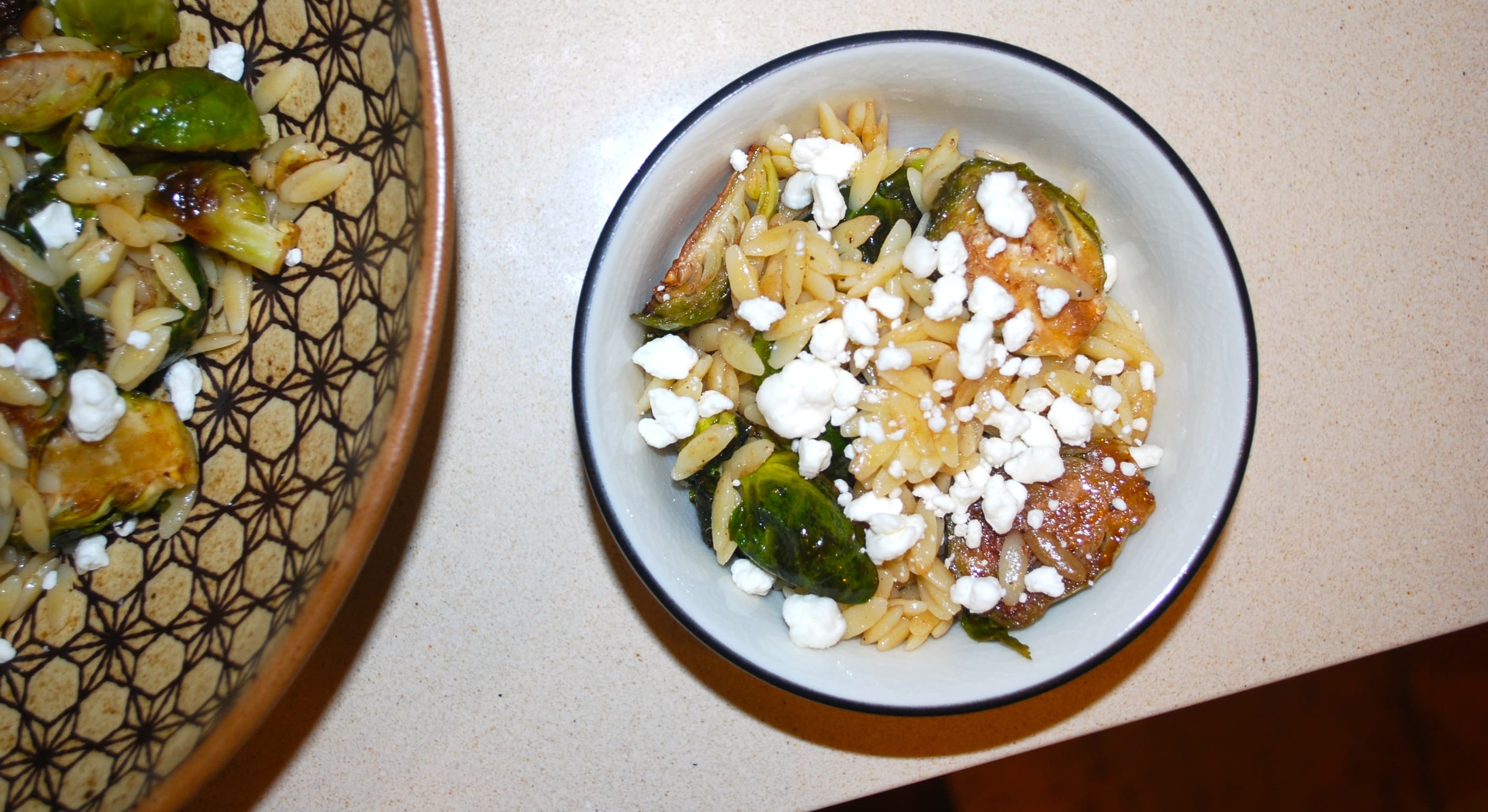 Lemon Orzo w/ Brussel Sprouts and Goat Cheese