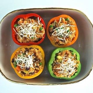 Cheesy Quinoa Stuffed Peppers
