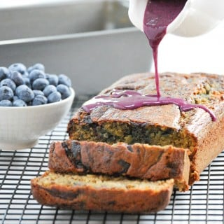 Whole Wheat Blueberry Swirl Banana Bread (with blueberry glaze!)