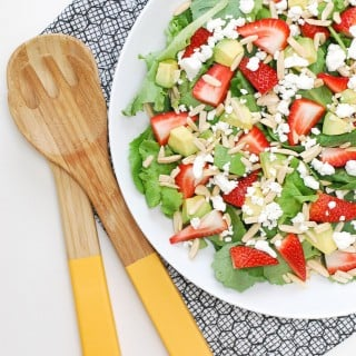 Spinach, Kale, & Strawberry Salad w/ Avocado, Almonds, & Goat Cheese