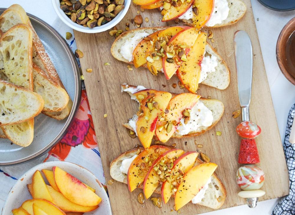 Peach Burrata Crostini-6