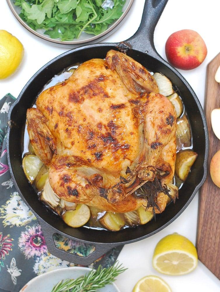 Honey Glazed Apple Roast Chicken-3