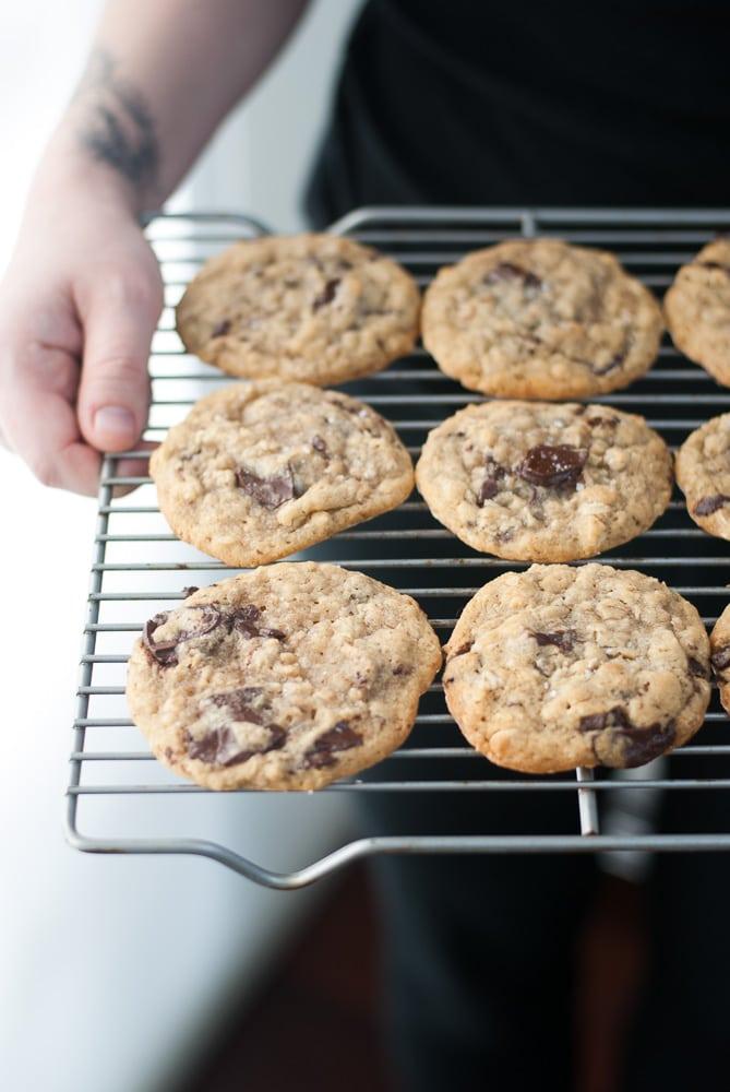 Dark Chocolate Chunk Oatmeal Peanut Butter Cookies-7