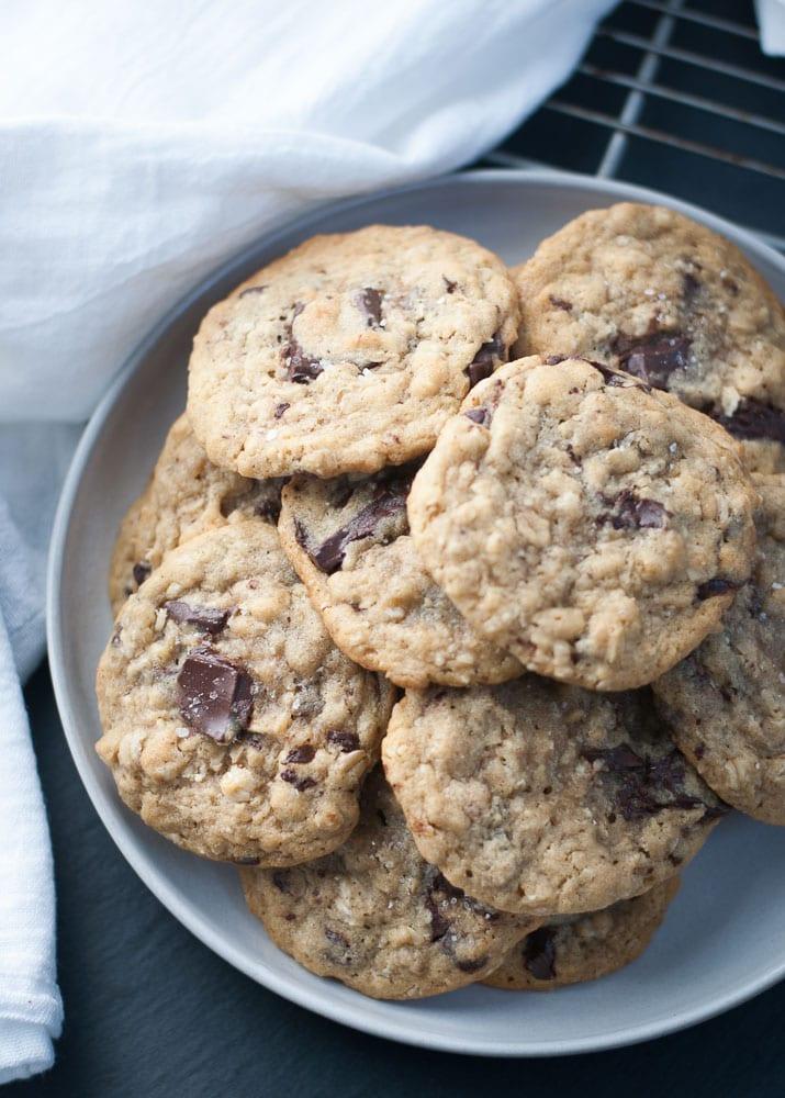 Dark Chocolate Chunk Oatmeal Peanut Butter Cookies-8