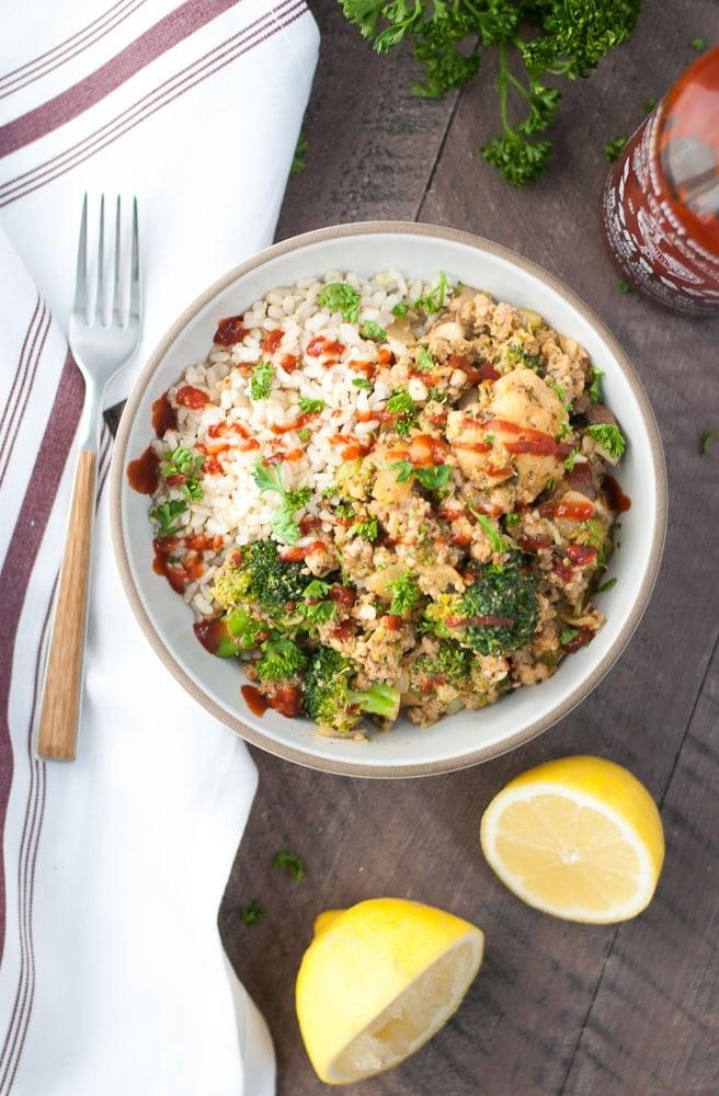 Ground Turkey & Veggie Brown Rice Bowls-5