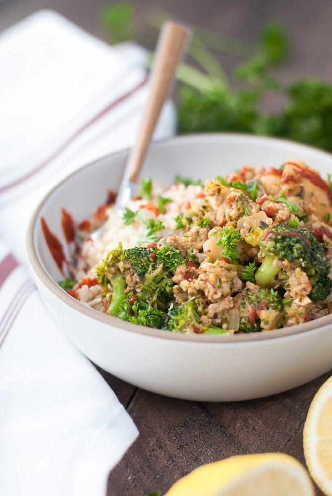 Ground Turkey & Veggie Brown Rice Bowls-6