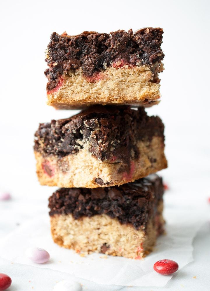 M & M Cookie Brownie Bars-3