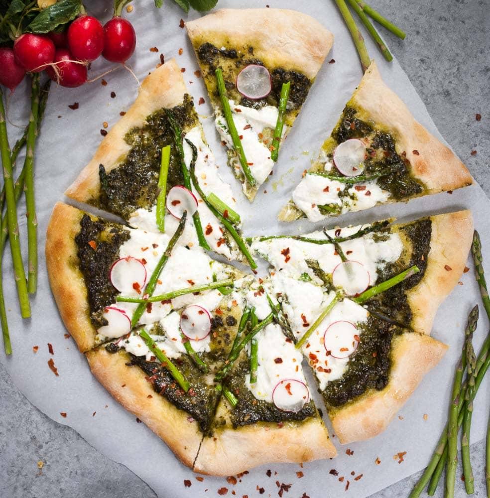 Pesto, Asparagus, & Burrata Pizza-2