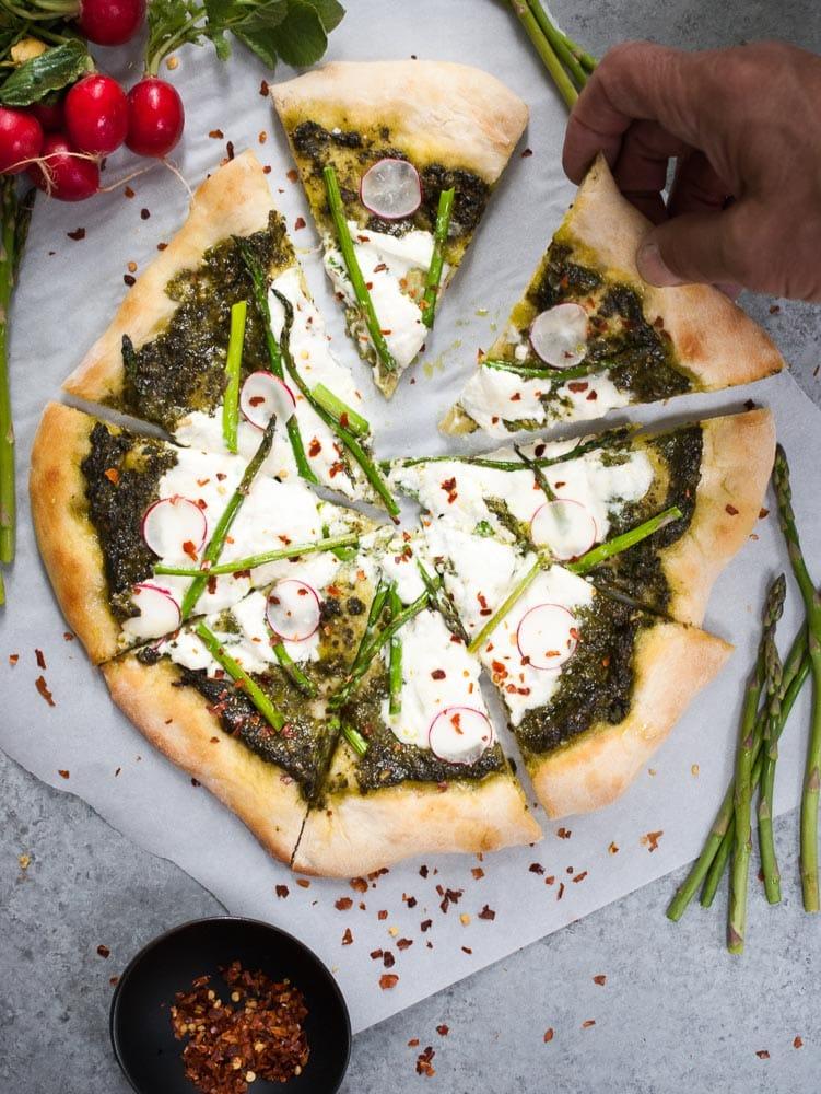 Pesto, Asparagus, & Burrata Pizza-3