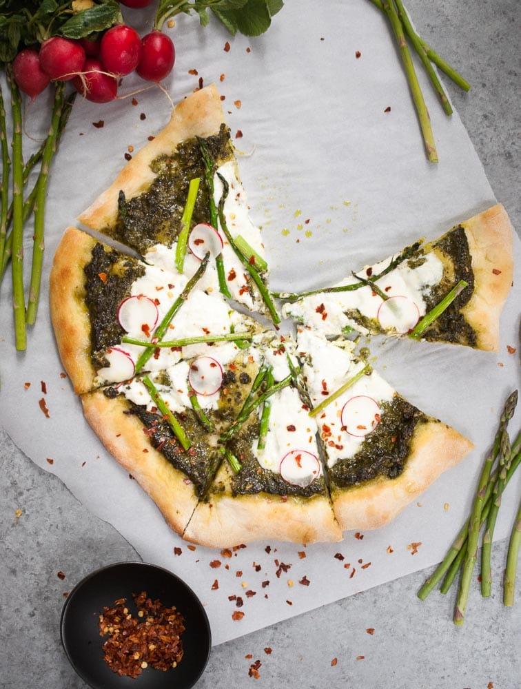 Pesto, Asparagus, & Burrata Pizza-4