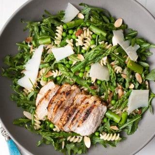 Spring Pasta Salad w/ Asparagus, Peas, & Greens