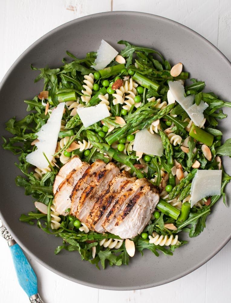 Spring Pasta Salad w- Asparagus, Peas, & Greens-3