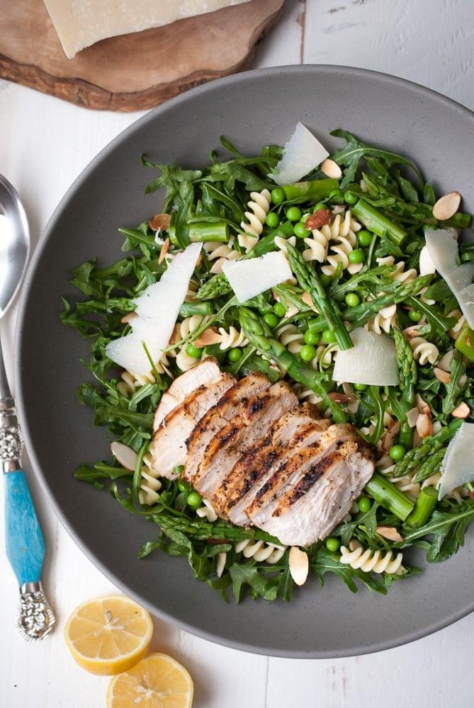 Spring Pasta Salad w- Asparagus, Peas, & Greens-4