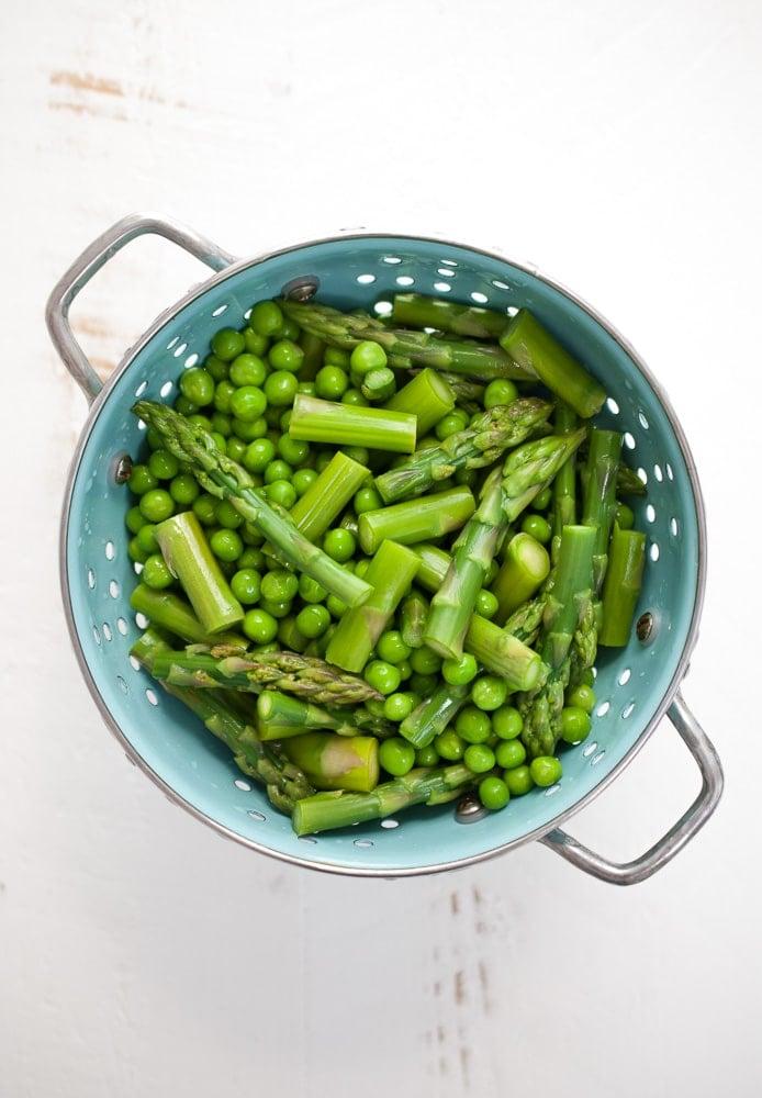 Spring Pasta Salad w- Asparagus, Peas, & Greens
