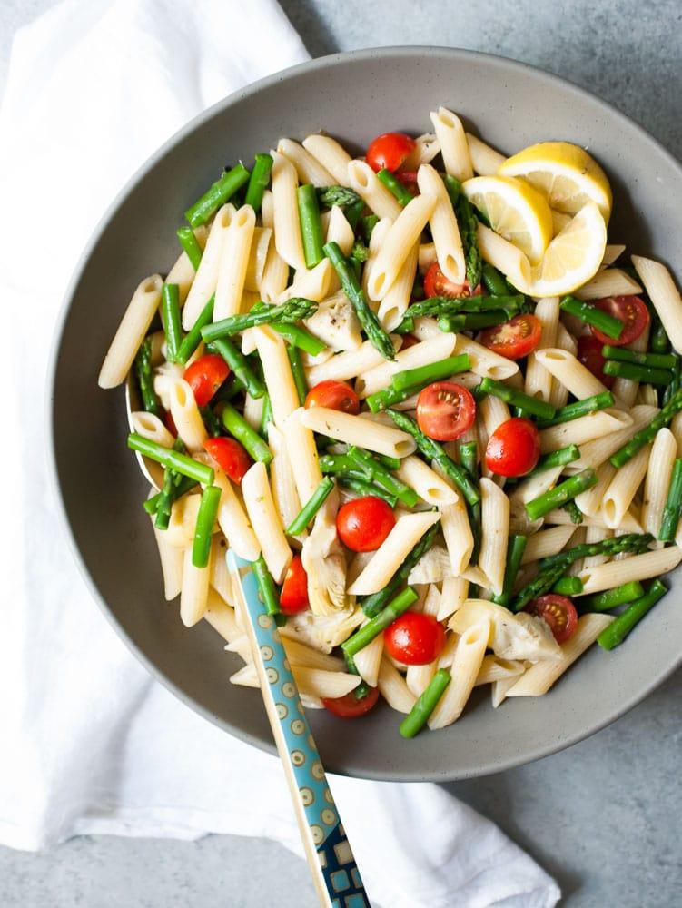 Artichoke, Aspargus, & Tomato Pasta Salad-4