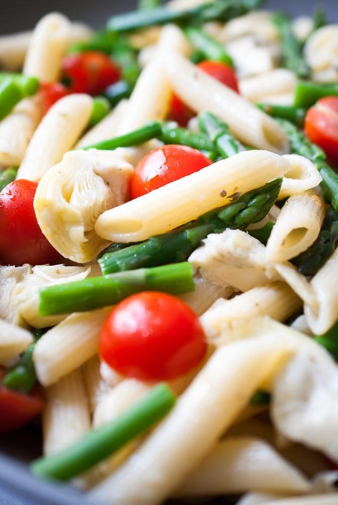 Artichoke, Aspargus, & Tomato Pasta Salad-5