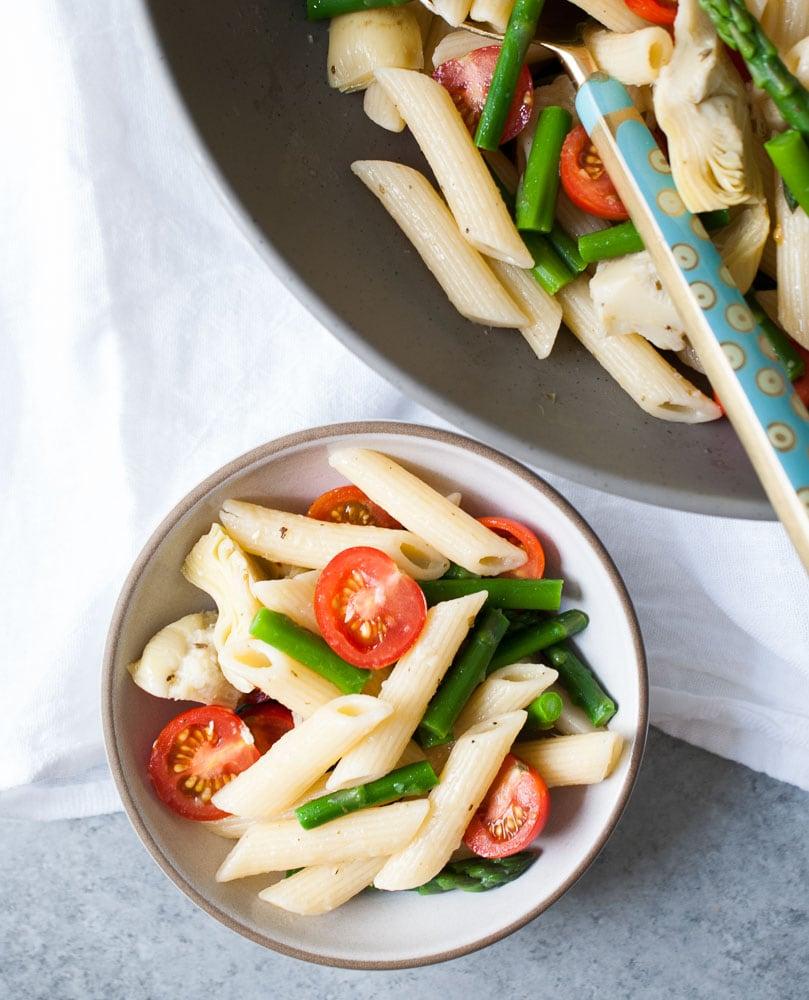 Artichoke, Aspargus, & Tomato Pasta Salad-6
