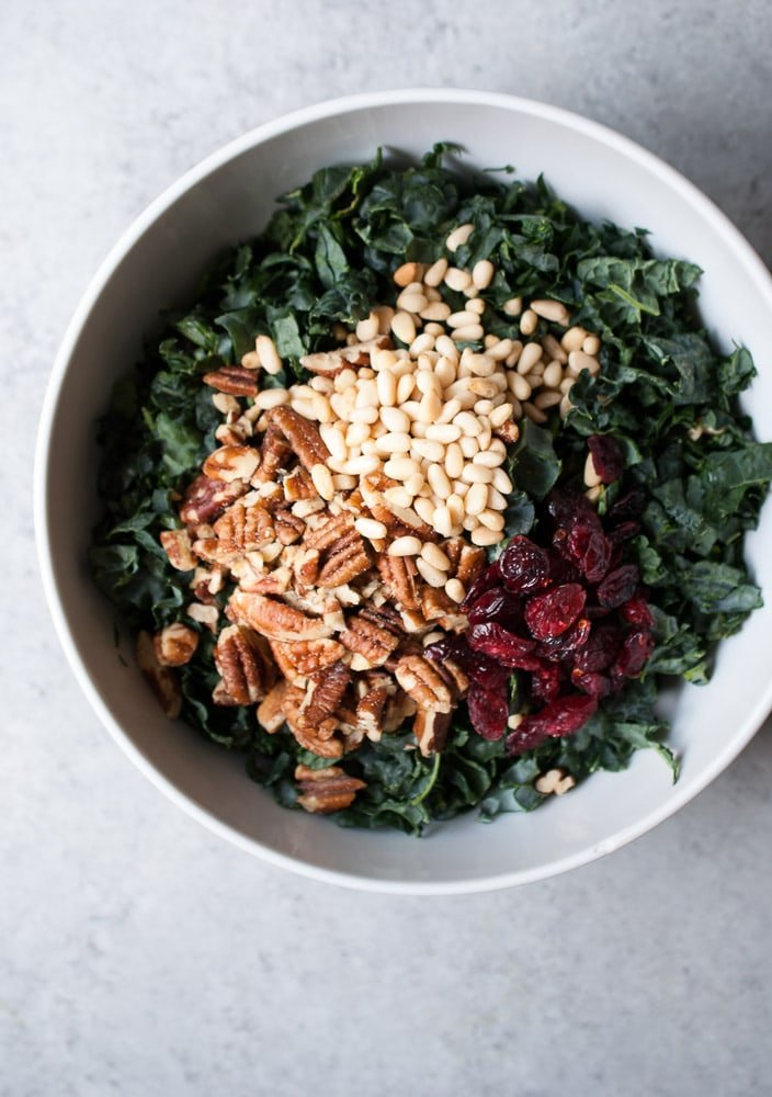 Chopped Kale Salad w- Pecans, Cranberries, & Herb Dressing-3