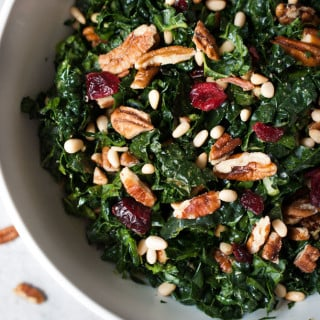 Chopped Kale Salad w/ Pecans, Cranberries, & Herb Dressing