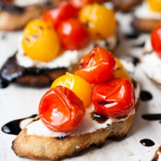 Grilled Mascarpone & Goat Cheese Crostini w/ Burst Tomatoes & Balsamic Glaze