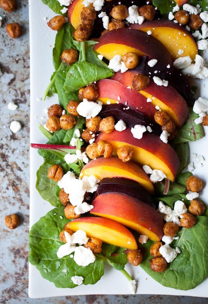 Roasted Beet, Peach, & Crispy Chickpea Salad
