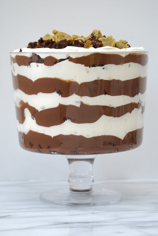 Chocolate Chip Cookie Brownie Trifle