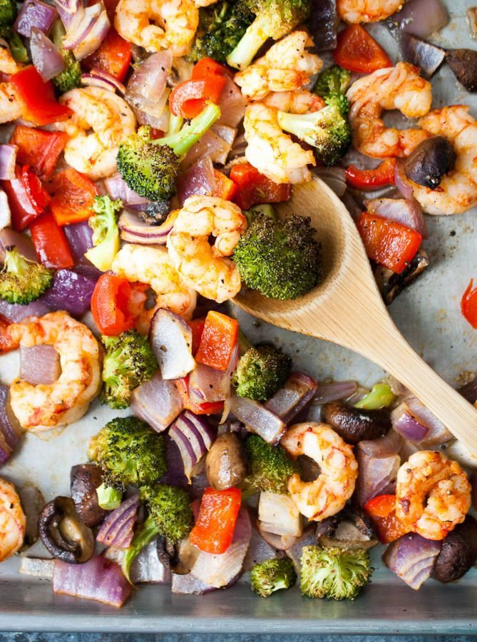 One Pan Roasted Shrimp & Veggies