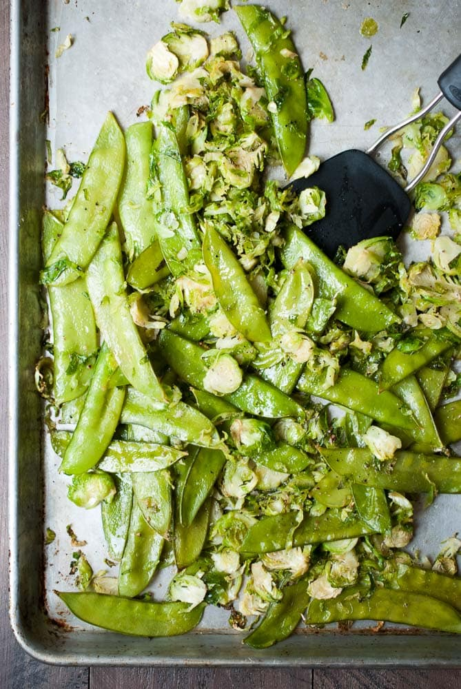 Roasted Snow Peas & Brussels Sprouts w/ Almonds