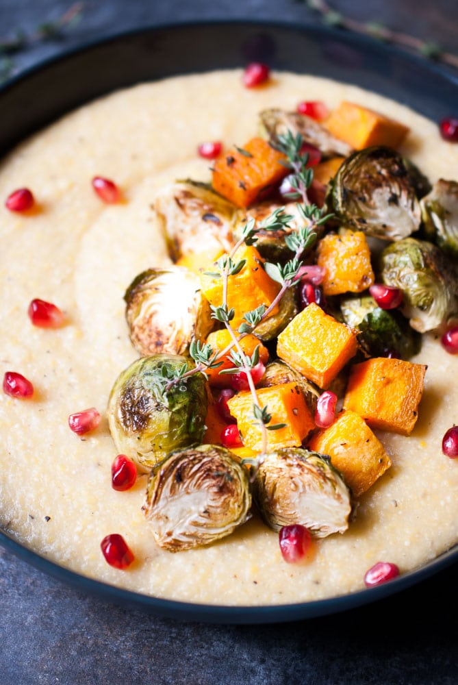 Creamy Potenta w/ Roasted Butternut Squash & Brussels Sprouts