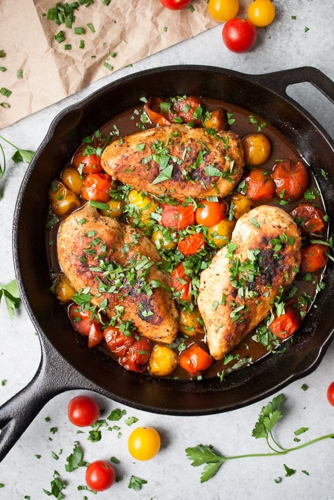 Balsamic Mustard Chicken w/ Cherry Tomatoes
