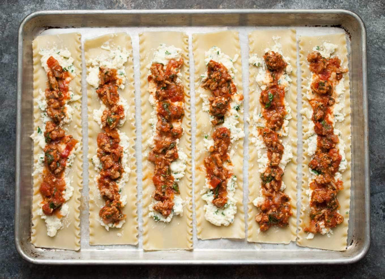 Turkey Spinach Lasagna Roll Ups