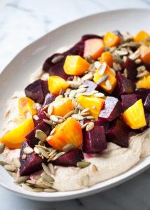 Roasted Beets & Hummus w/ Pumpkin Seeds