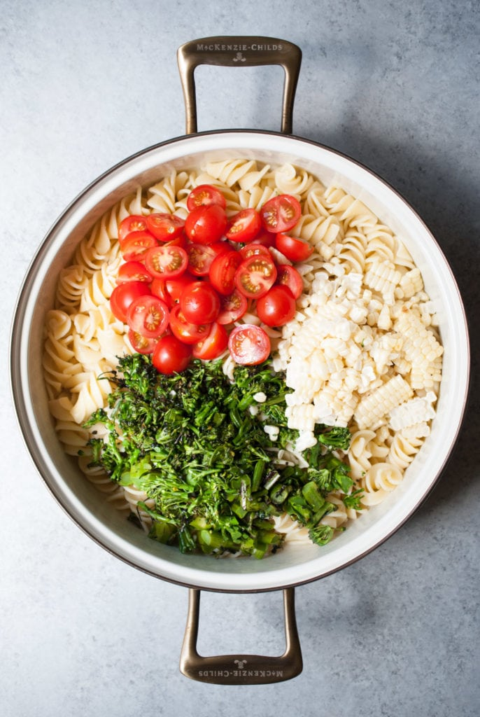 Grilled Broccolini, Corn & Tomato Pasta Salad