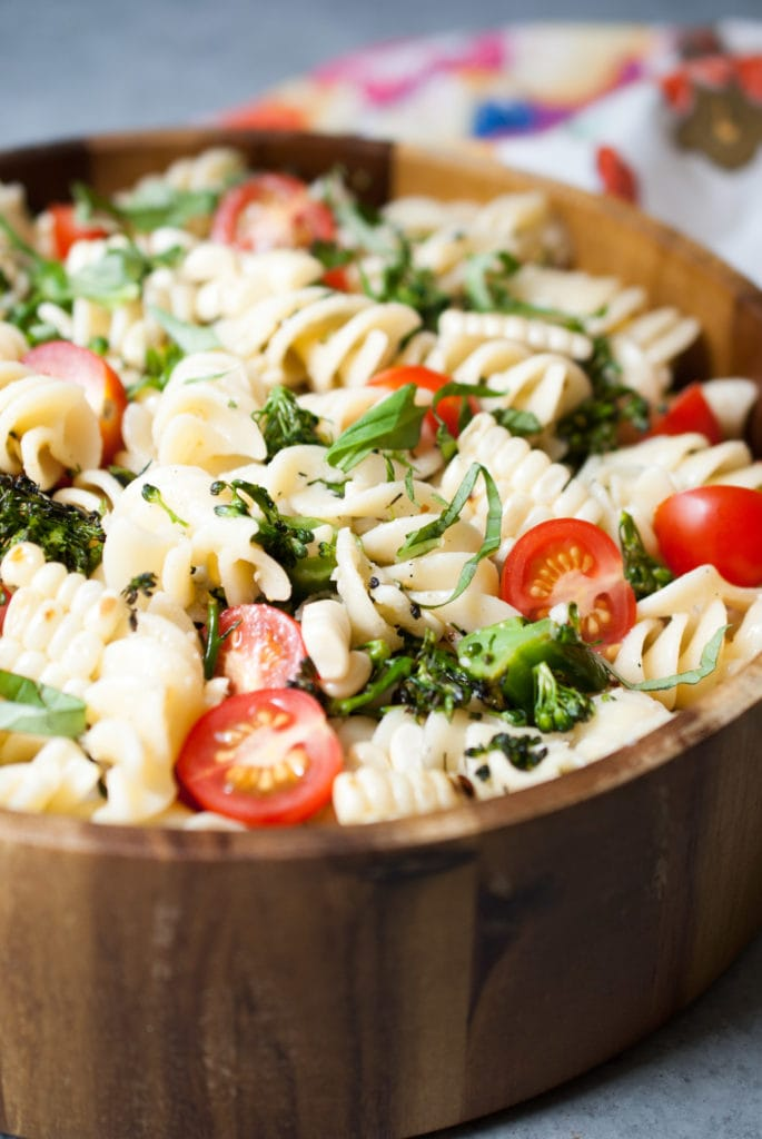 Grilled Broccolini, Corn & Tomato Pasta Salad