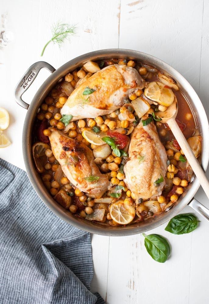 Chicken w/ Fennel, Garbanzo Beans & Tomatoes