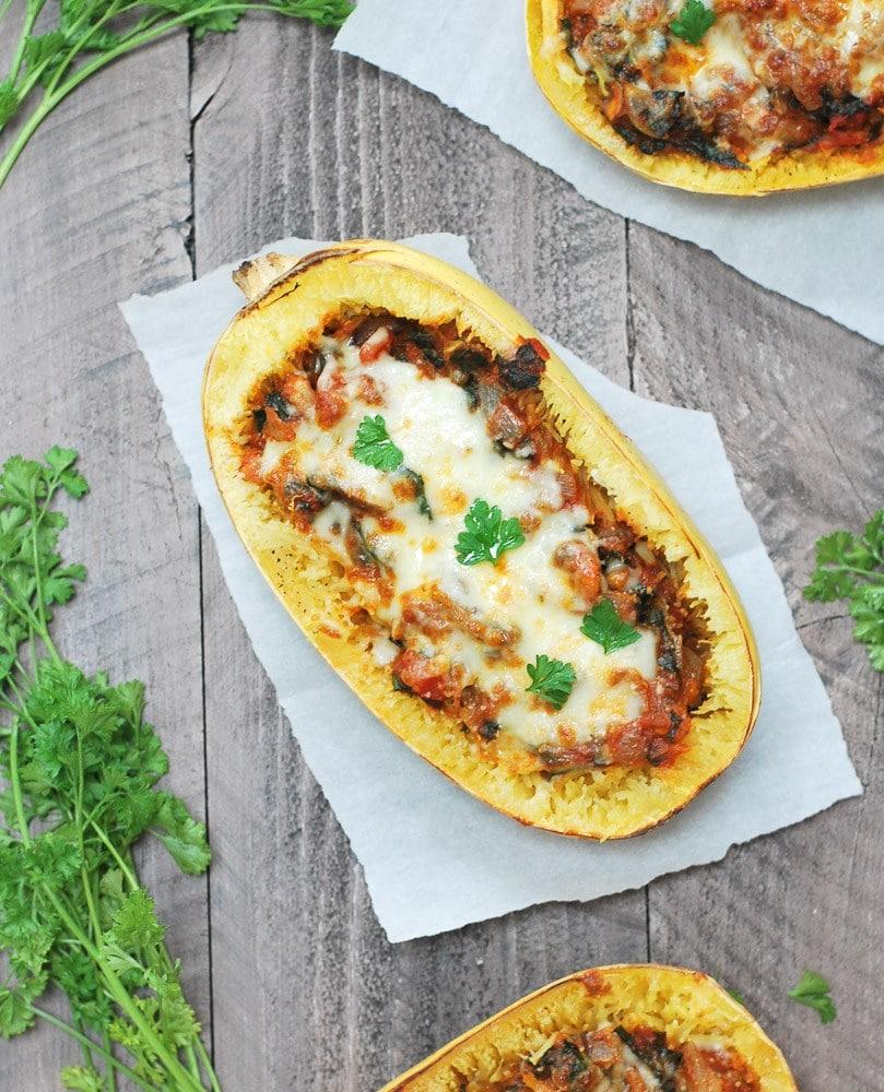 Mushroom & Kale Spaghetti Squash Bowls