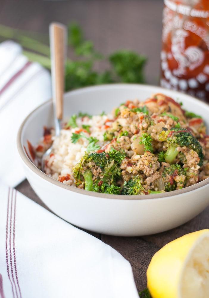 Ground Turkey & Veggie Brown Rice Bowls