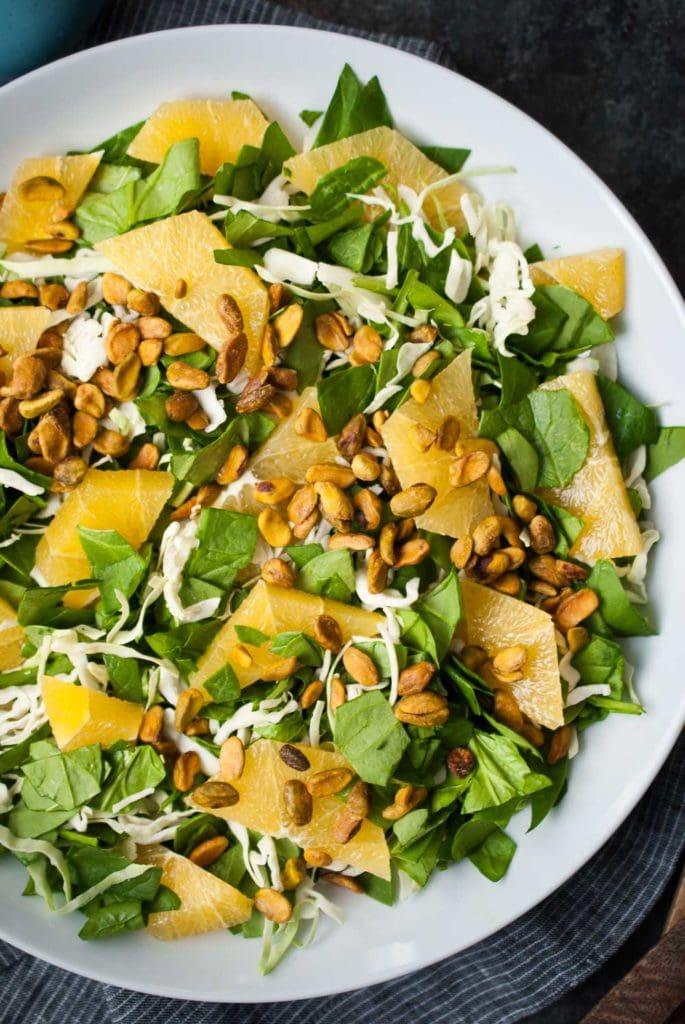 Spinach & Green Cabbage Citrus Salad w- Pistachios