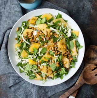 Spinach & Green Cabbage Citrus Salad w/ Pistachios