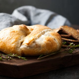 Baked Puff Pastry Wrapped Brie w/ Fig Jam