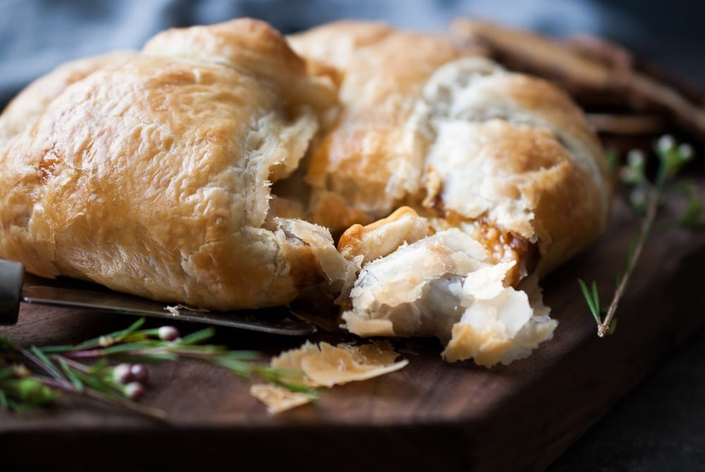 Baked Puff Pastry Wrapped Brie w- Fig Jam