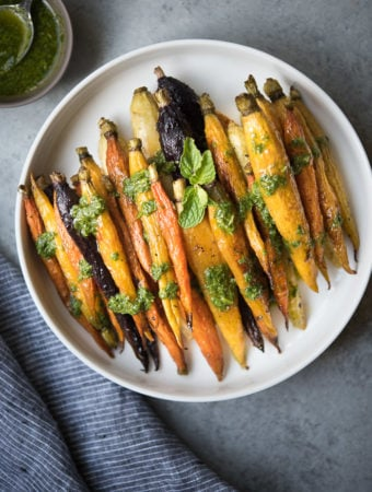 Oven Roasted Carrots w- Cilantro Mint Sauce