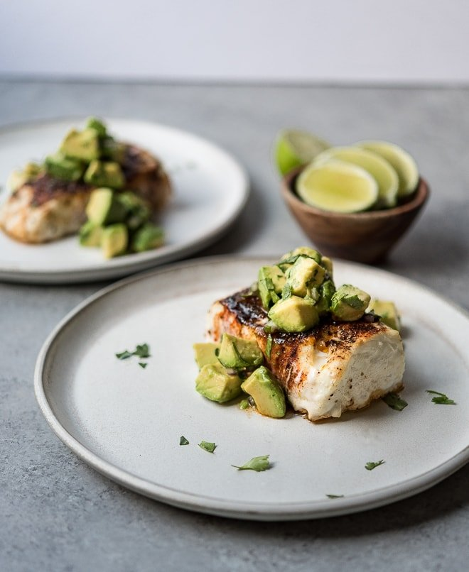 Spice Roasted Halibut w- Avocado Salsa