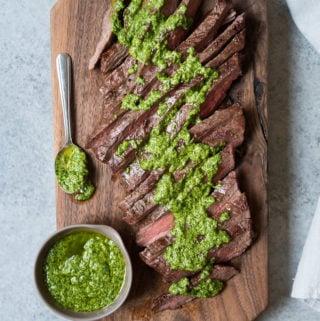 Grilled Flank Steak w/ Spinach Pesto