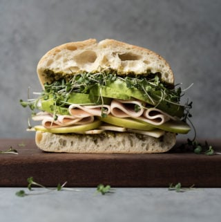 Turkey, Cheese & Avocado w/ Greens Sandwich