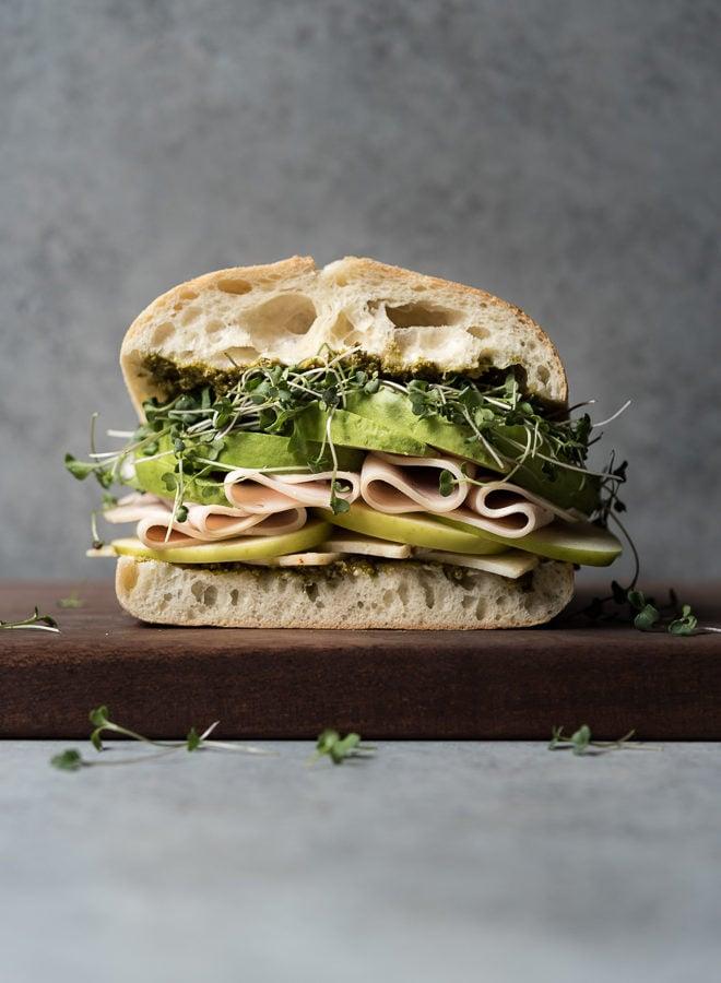 Turkey, Cheese & Avocado w/ Greens Sandwich