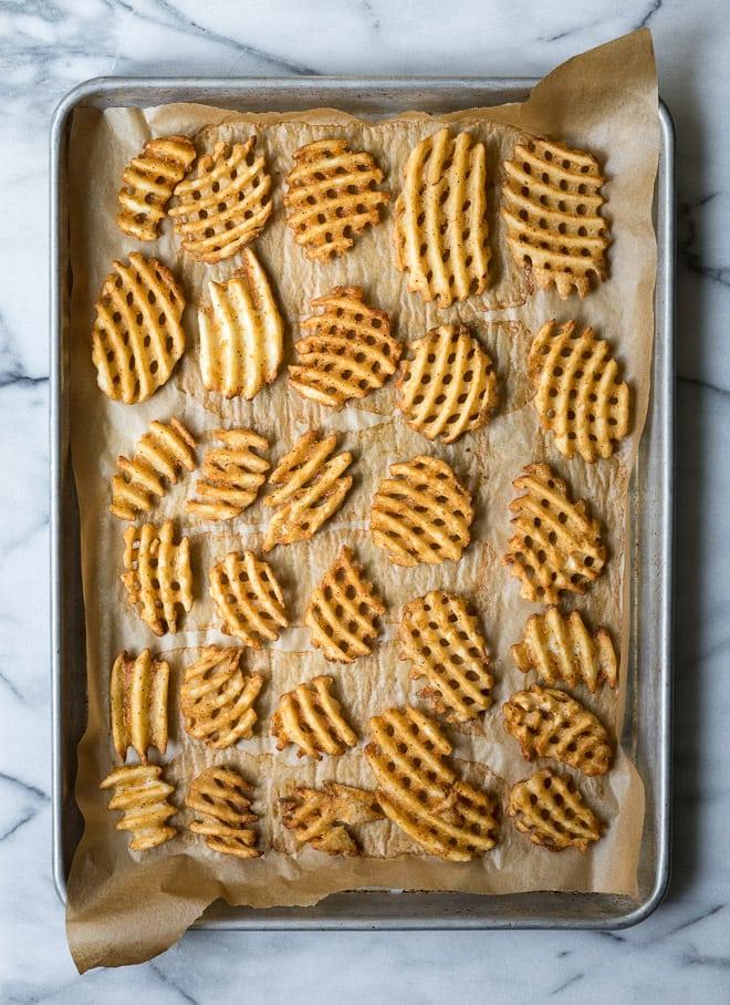 Waffle Fry Baked Potato Bites