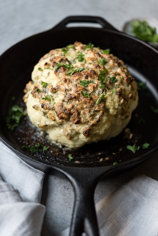 Almond Crusted Whole Roasted Cauliflower