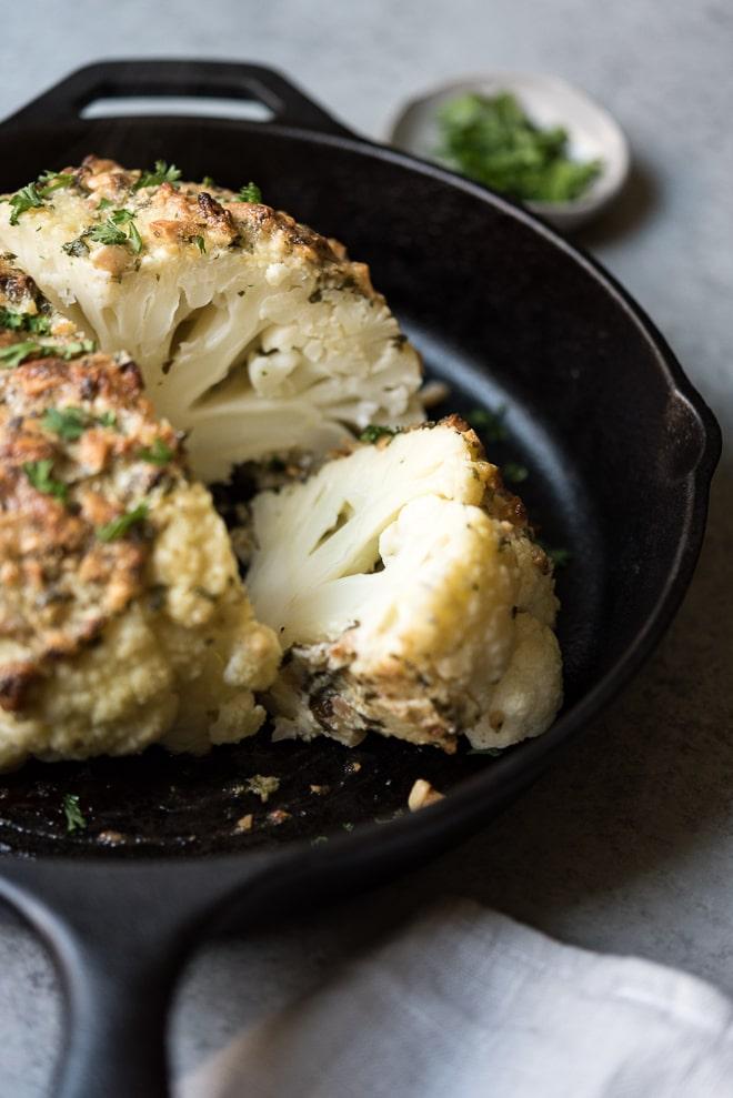 Almond Crusted Whole Roasted Cauliflower