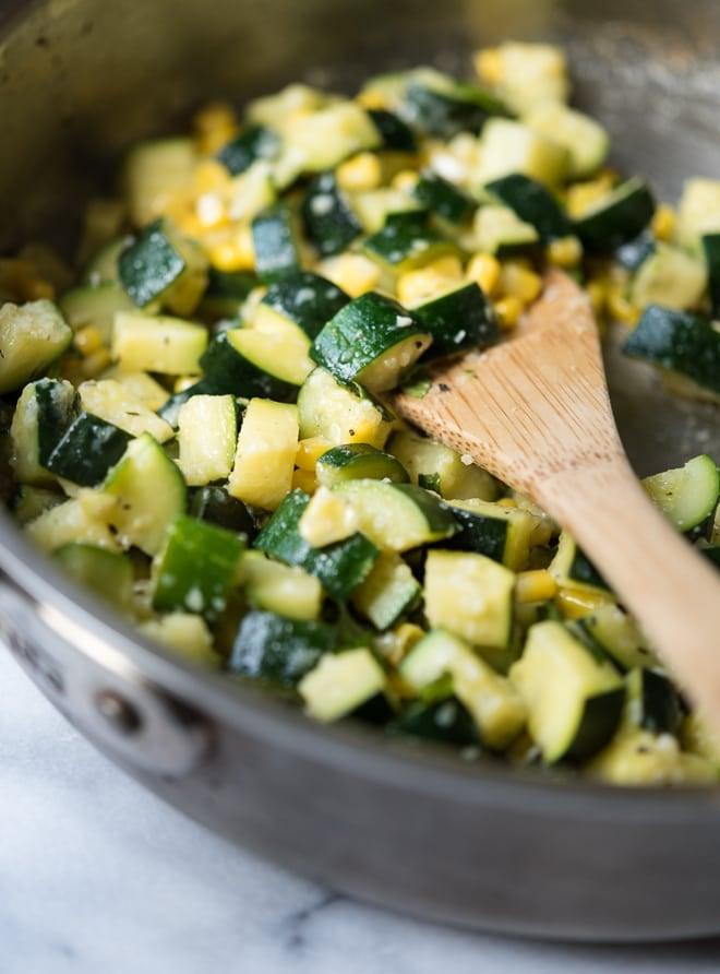 Sauteed Zucchini, Corn & Mint Salad w- Lemon & Parmesan